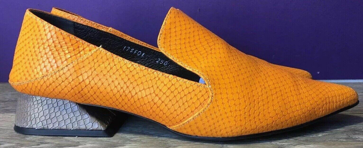 Rare Rejina Pyo x Yuul Yie shoes Snakeskin Leather, Calendula Marigold Sz 7.5 US