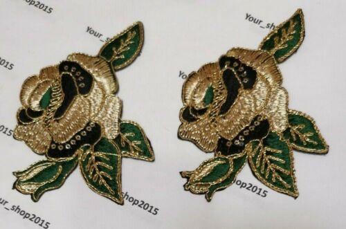 2 X Flower Pattern Embroidery Patches Motifs Iron On Clothing Patch Decor