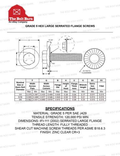 50 3//8-16x1 Grade 5 Serrated Hex LARGE Flange Screws Flange Bolts