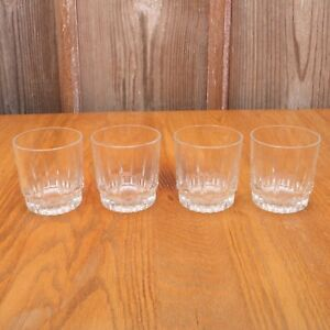 4-Short-Clear-Glass-Tumblers-Water-Glasses-Cups-Linear-Pattern