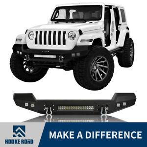 Hooke Road Front Bumper W Led Spotlight Light Bar For Jeep