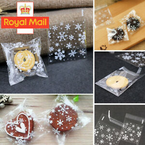 100x XMAS Snowflake Cellophane Party Favour Cookie Sweet Candy Biscuit Gift Bags
