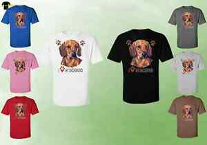 1e6aa7a4 Unisex Dachshund T-Shirt - I Love My Dachshund Dog T-Shirts Love Pup ...