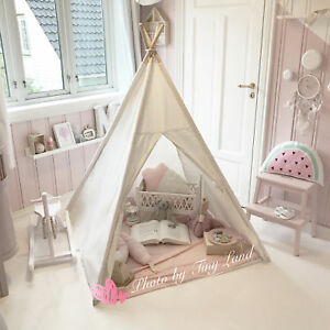 Image is loading Kids-Giant-Canvas-TEEPEE-WIGWAM-Childrens-Indoor-Play- & Kids Giant Canvas TEEPEE WIGWAM Childrens Indoor Play Tent Party ...