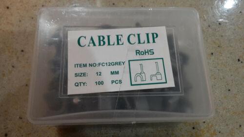 Rond Gris Câble Clips 8mm-12mm avec fixation Ongles-Packs de 100-400