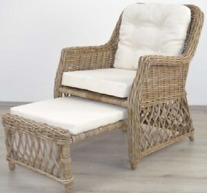 rattansessel mit fu st tze relaxsessel fernsehsessel sessel rattan korbsessel ebay. Black Bedroom Furniture Sets. Home Design Ideas