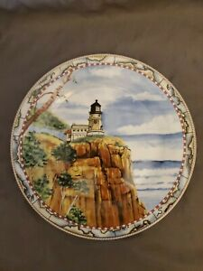 AMERICAN-ATELIER-at-home-Signals-5100-SPLIT-ROCK-10-3-4-034-dia-DINNER-PLATE-Mint