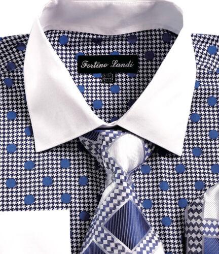 Fortino Landi Men/'s Fashion Dress Shirt with Tie Hanky and Cufflinks FL632