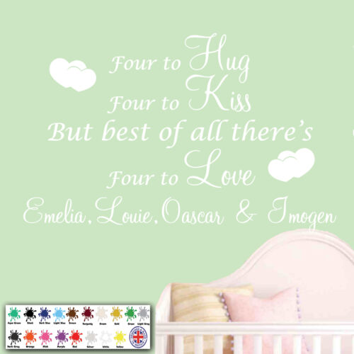 Family Wall Art Quote Four To Love Personalised Wall Sticker Kiss Girls Hug