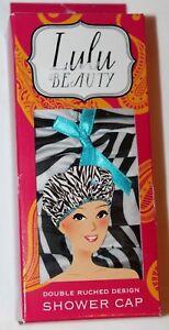 06a11aa1 Image is loading Lulu-Beauty-Double-Ruched-Design-Shower-Cap-Zebra-