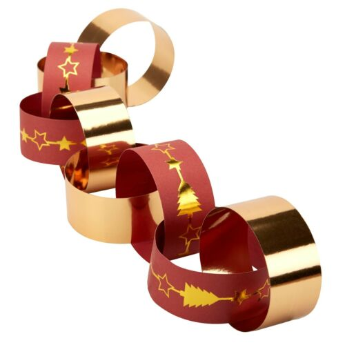 RED AND GOLD RUDOLF DESIGNS CHRISTMAS PAPER CHAINS