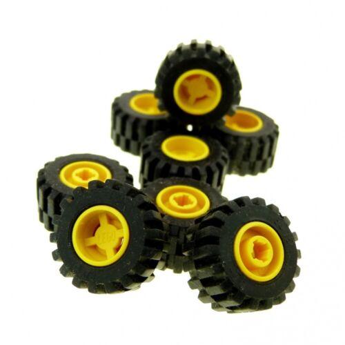 8 X LEGO Sistema Ruota Nero Giallo 11mm D 6014b//6015 x 12mm PNEUMATICO CERCHIO RUOTE