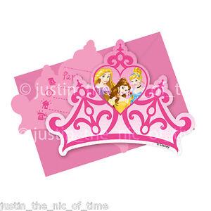 Disney Princess Girls Birthday Party Crown Invites Envelopes