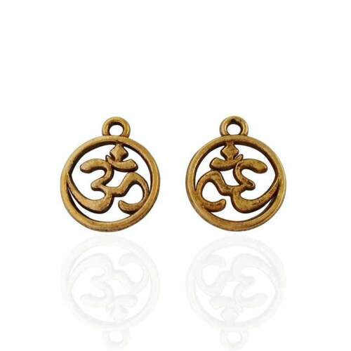 20 x Silver//Gold Tone OM AUM Double Sided Charms Pendants Beads 15x12mm