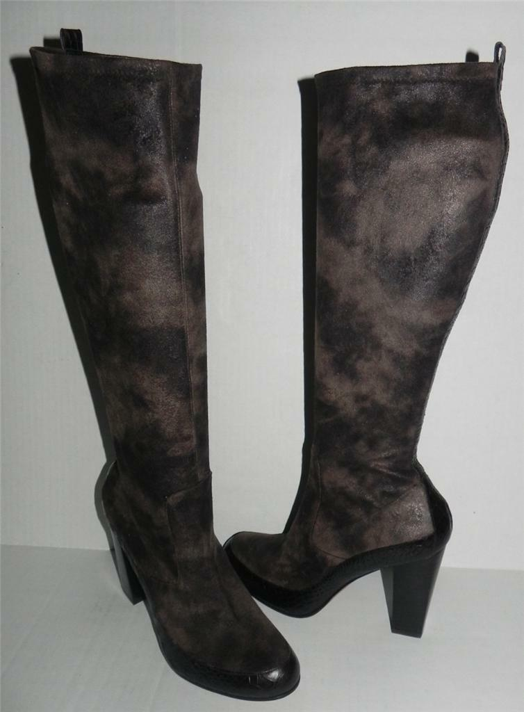 Donald Pliner Chenia Taupe Brown Boot Alligator Croc Suede Knee High Boot Brown 10 e07fb4