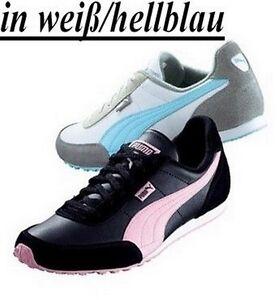 Details zu Puma Sneaker Gr.37,5 42 NEU Damen Sportschuhe Leder Weiß Blau Retro Sprint Optik