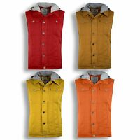 Men Hooded Vest Top Sleeveless Hoodie Sports Sweatshirts Tan Yellow Orange Denim