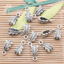 40pcs tibetan silver tone 2sided leaf branch connector EF1509