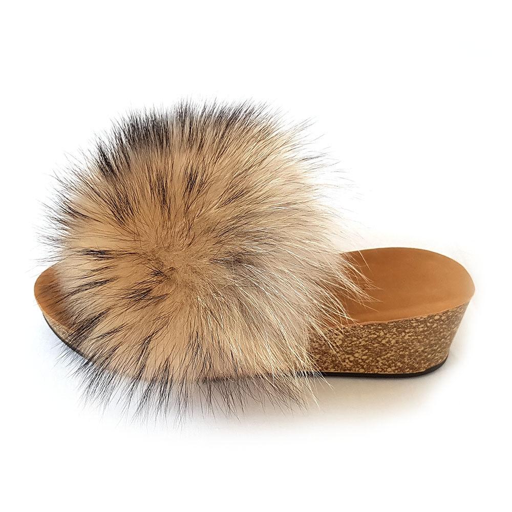 Damen Keilabsatz Pantoletten Sandalen mit Finnraccoon Pelz Keil Sandalen Pantoletten mit Fell Wedge 118def