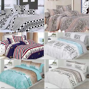 Duvet-Cover-Set-Quilted-Cover-Bedding-Set-With-Pillow-Cases-amp-Fitted-Sheet