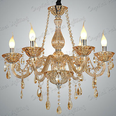 Crystal Chandelier AMBER 6, 8, 10 Lights Candle Pendant Lamp Marie Therese