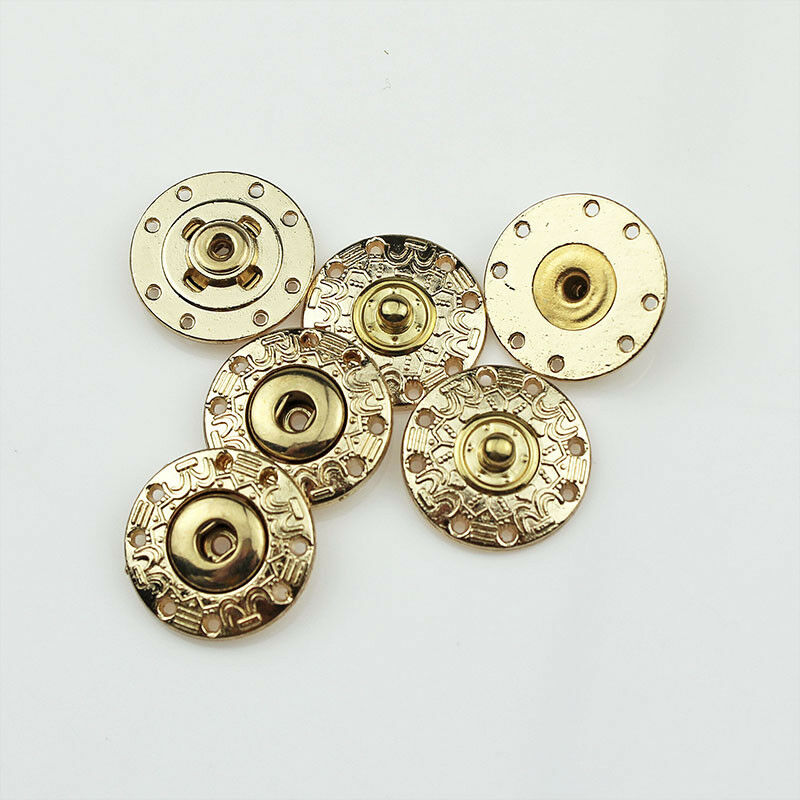 12//24PCS Round Metal Snap Fasteners Press Studs Poppers Buttons 25mm 40L 1/""