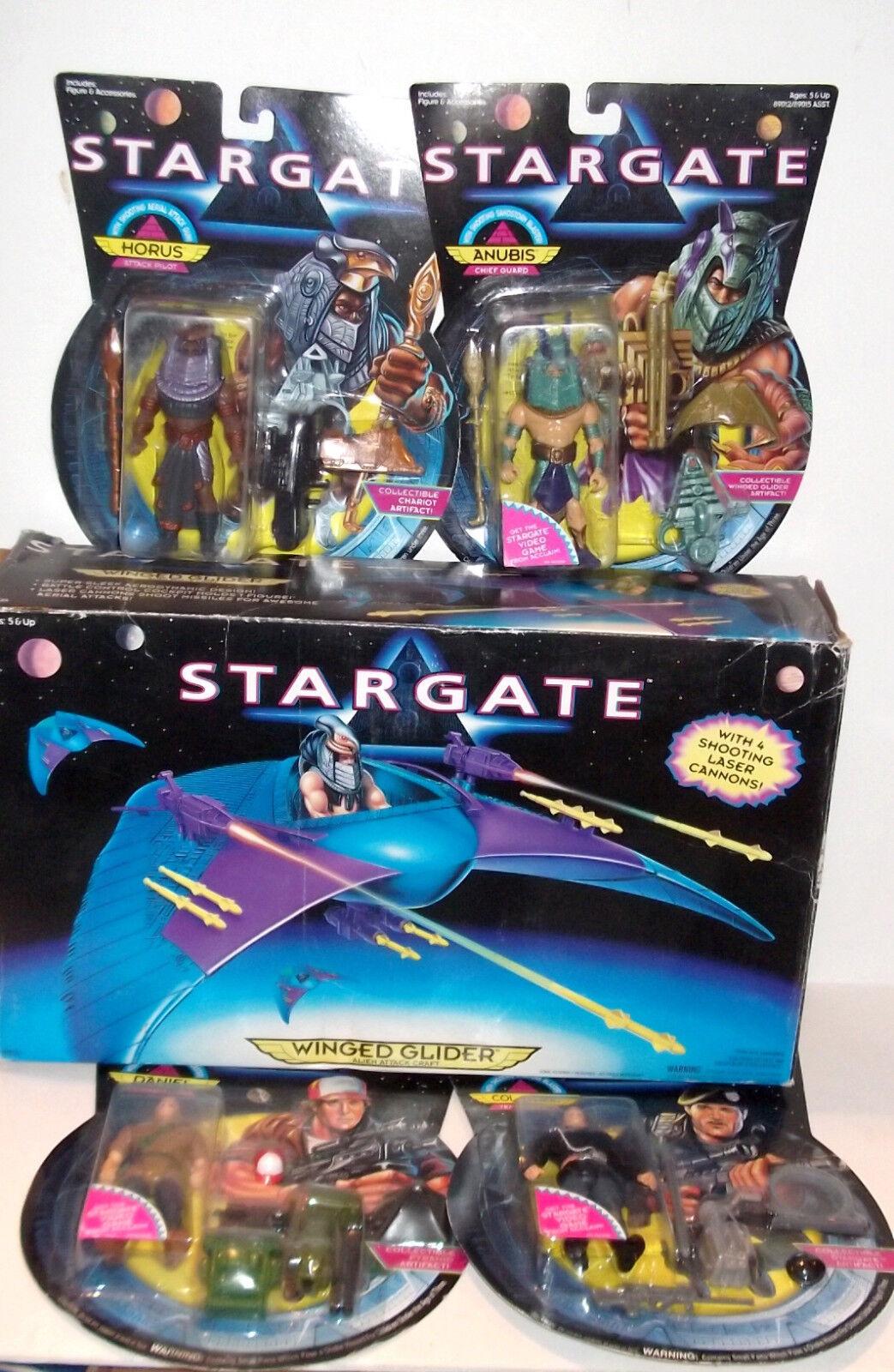 LOT Vintage Hasbro Stargate HORUS ANUBIS Winged Glider Daniel O'Niel Figure mast