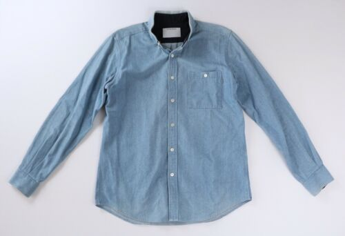 Patrik Ervell Mens Light Blue Denim Button Collar
