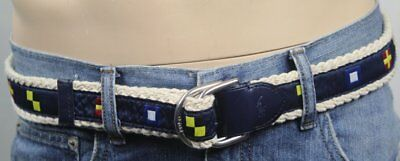 Polo Ralph Lauren Blu Navy Crema Corda Nautico Cintura Bandiera Nwt
