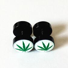 Marijuana/Weed Leaf Cannabis Pot Stainless Steel Fake Ear Plugs Stud Earrings