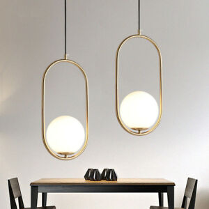 Details About Modern Minimal Mini White Gl Globe Led Gold Oval Ring Creative Pendant Lights
