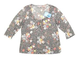 Marks-amp-Spencer-Womens-Size-16-Floral-Grey-Top-Regular