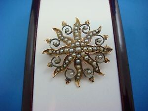 !ANTIQUE VICTORIAN 14K ROSE GOLD STARDUST BROOCH-PENDANT WITH SEED PEARLS 3.7 GR