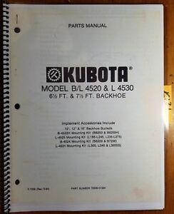 kubota model b l 4520 l 4530 6 1 2 ft 7 ft backhoe parts manual rh ebay com