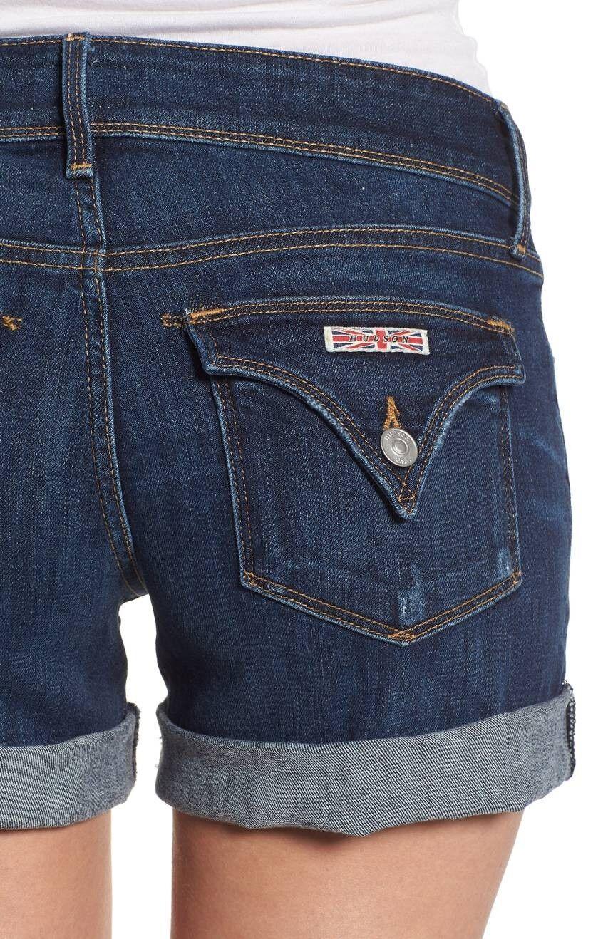 NEW HUDSON Women Croxley Mid Thigh Beach Summer Cuffed Denim shorts Jeans