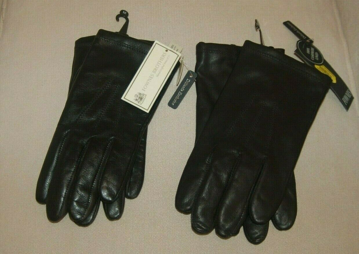 NWT Fownes Brothers Black Leather Gloves Lined in Cashmere Men's Size M, XL