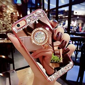 Luxury-Bling-Diamond-Crystal-Ring-Holder-Mirror-Case-Cover-For-Samsung-J5-2016