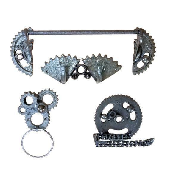 Gearhead Bathroom Accessory Set Cast Iron w  mounting hardware mechanics racers