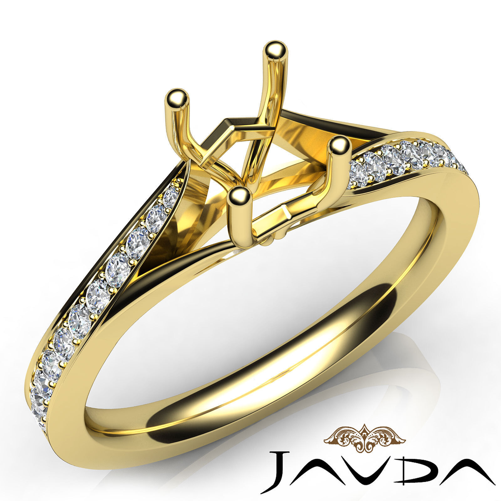 Cushion Diamond Pave Setting Engagement Semi Mount Ring 18k Yellow gold 0.35Ct