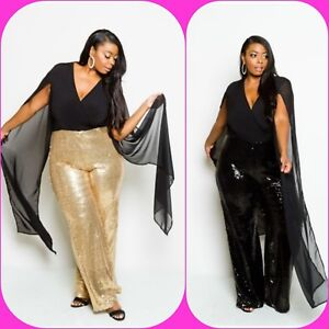 Plus Size Deep V Sheer Cape Sleeved Sequin Gold Pants Black