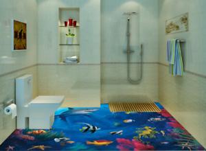 3D Tiburón Pez Coral Piso impresión de parojo de papel pintado mural 5 5D AJ Wallpaper Reino Unido Limón