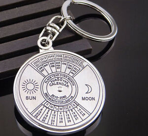 Unique-Metal-Key-Chain-Ring-50-Years-Perpetual-Calendar-Keyring-Keychain-silver