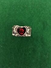Broken Heart Ring with Rose Skull by Alchemy Gothic - size 8