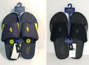 NWT Ralph Lauren Polo Alim Slides Slip On Sandals Shoes Canvas Mens