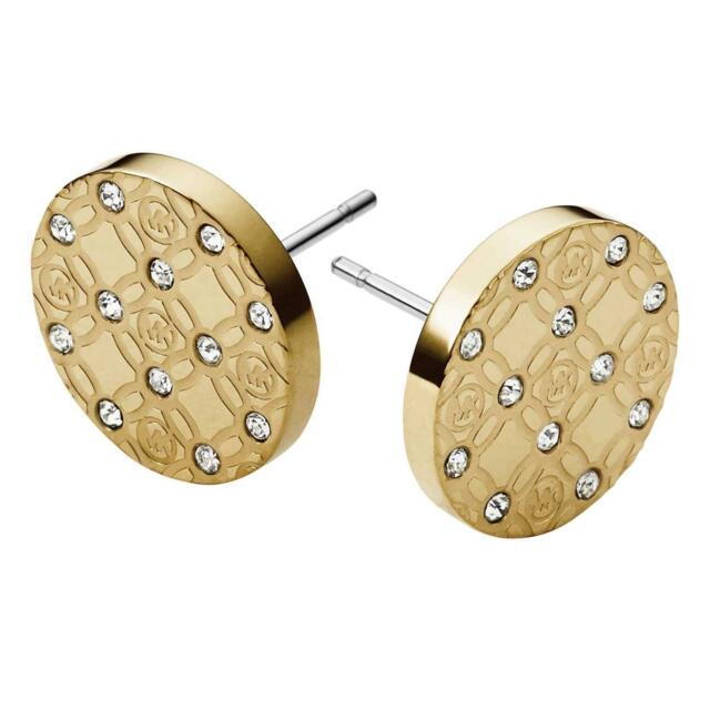 Michael Kors Gold Tone Monogram Stud Earrings Item No Mkj4276710