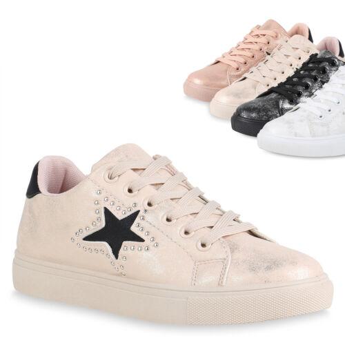 Damen Sneaker Low Nieten Metallic Turnschuhe Sport Freizeit Schuhe 820905 Trendy