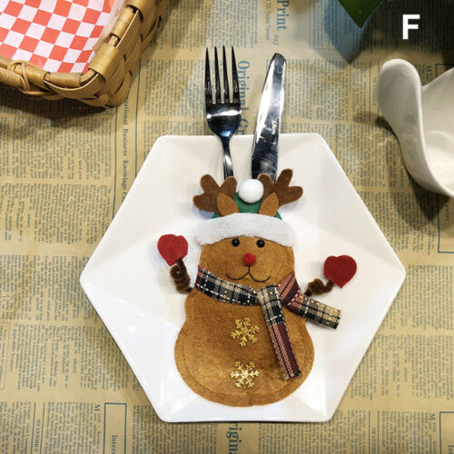 Snowman Forks Hotel Tableware Holder Christmas Decoration Bags Cutlery Pouch