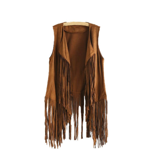 Women Autumn Winter Faux Suede Ethnic Sleeveless Tassels Fringed Vest Cardigan T