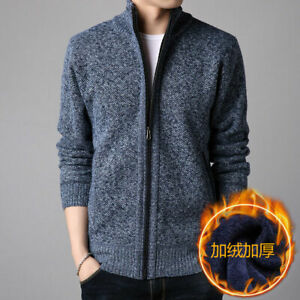 Men-039-s-Sweater-Zip-Jacket-Coat-Sweatshirt-Outwear-Fleeced-Winter-Warm-Outdoor-New