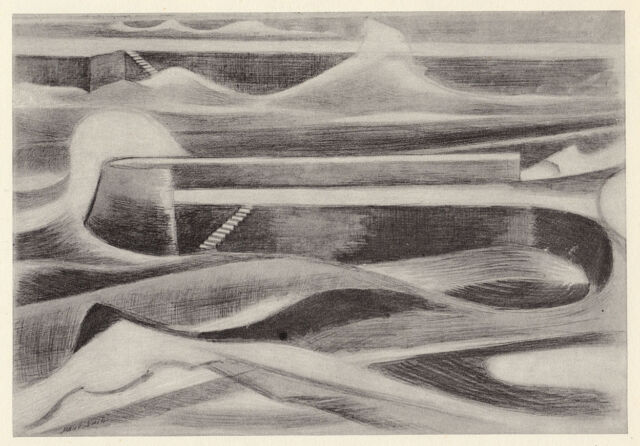 Sea Wall ( Dymchurch ) RARE Paul Nash ready mounted vintage print 1948. SUPERB